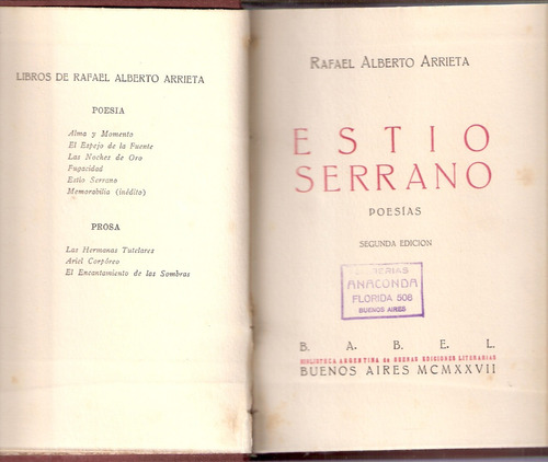 rafael alberto arrieta. estio serrano. 1927. 2da edicion