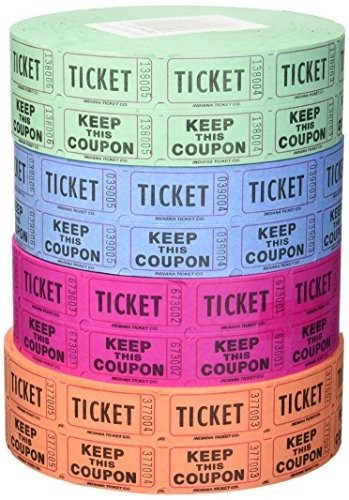 raffle tickets - (4 rolls of 2000 double tickets) 8,000 tota