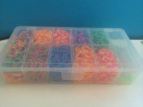 rainbow loom - pulseira 1.200 elásticos dual color + maleta