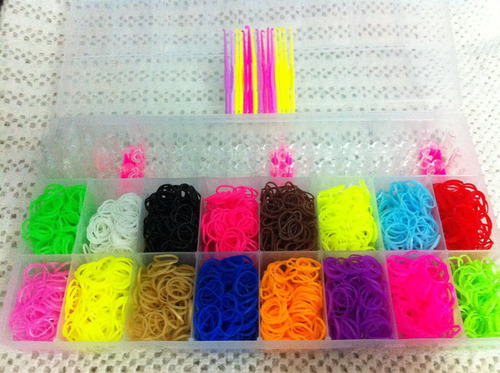 rainbow loom-pulseira - tear + refil 3200 elásticos + maleta