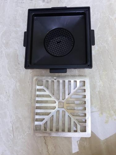 ralo 20x20 concava aluminio + coletor s. baixa + tela pvc