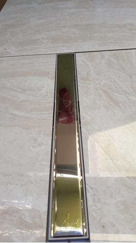 ralo banheiro seca box 5x50cm  sifonado grelha cega inox