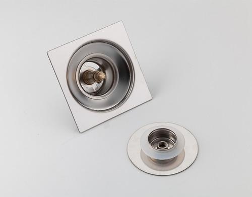 ralo click banheiro 10x10 cm inox c/ veda cheiro inteligente