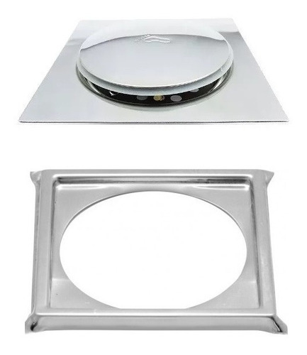 ralo click inteligente em inox 15x15 cm + porta grelha