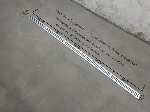 ralo linear 10x100 cm coleta agua pluvial grelha alum.