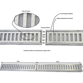 Ralo Linear 10x100 Cm Grelha + Tela Anti Inseto Aluminio