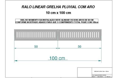 ralo linear 10x100, coleta água pluvial grelha alumínio