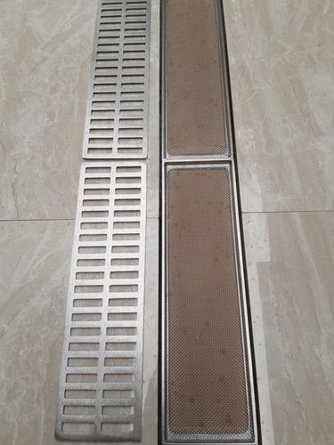 ralo linear 15x100 anti inseto alumínio c/ aro de fixação