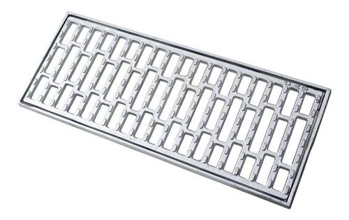 ralo linear 20x100cm em aluminio fundido, grelha com suporte