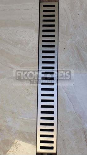 ralo linear 6x200 alumínio + caixa coletora sifonavel + tela