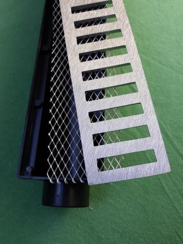 ralo linear 6x50 em alumínio com caixa coletora e tela anti insetos