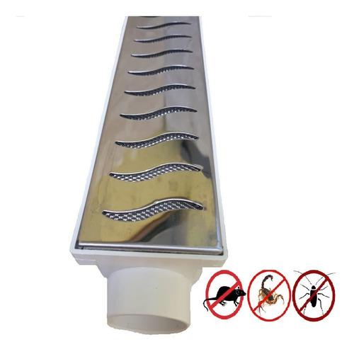 ralo linear grelha 6x100 inox polido com tela anti insetos
