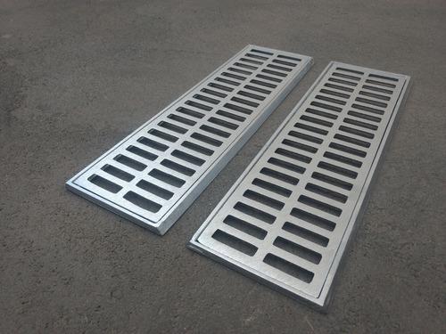 ralo linear grelha alumínio 15 x 100 + aro de fixiçao