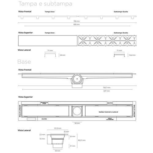 ralo linear - smart line - tampa oculta - 60cm