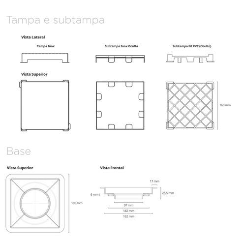 ralo linear - square line inox - tampa oculta - 15cm x 15cm