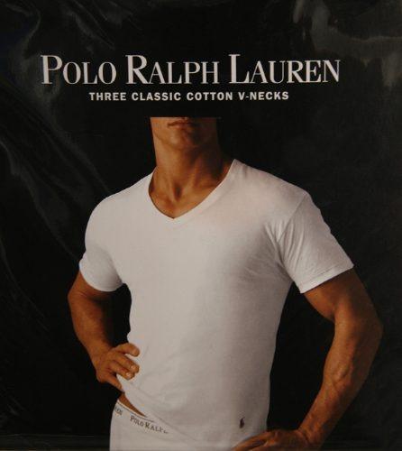 c0625af3bd Ralph Lauren   Camisa Básica Masculina Branca Gola V Tam P - R  50 ...