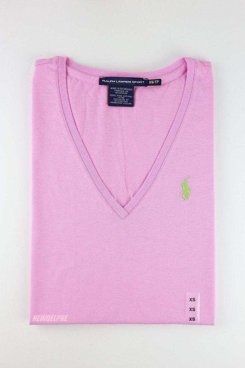 ralph lauren - camiseta básica gola v- tamanho g - feminino. Carregando zoom . b92c67dfede