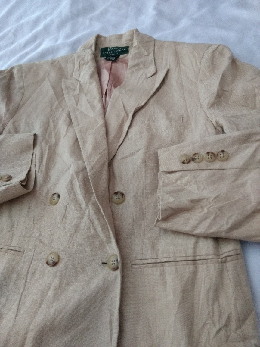 Blazer Saco De Lino Ralph Lauren Talla 12p De Mujer Abrigo ... 96c881843b67