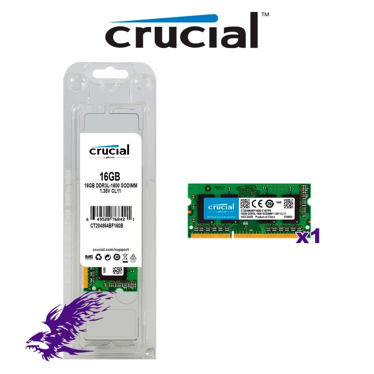 Ram Crucial 16gb Ddr3l 1600 Sodimm S 859 00 En Mercado Libre