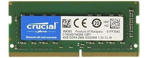 ram crucial ddr4 sodimm  4gb 2666 mhz v 1.2 ct4g4sfs8266