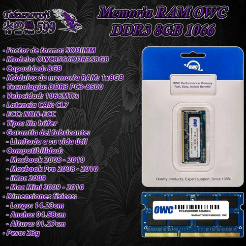 ram owc ddr3 8gb 1x8gb 1066 sodimm macbook imac mac mini