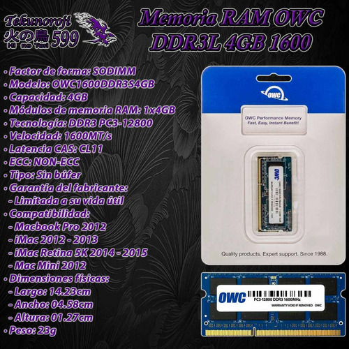 ram owc ddr3l 4gb 1x4gb 1600 sodimm macbook imac mac mini