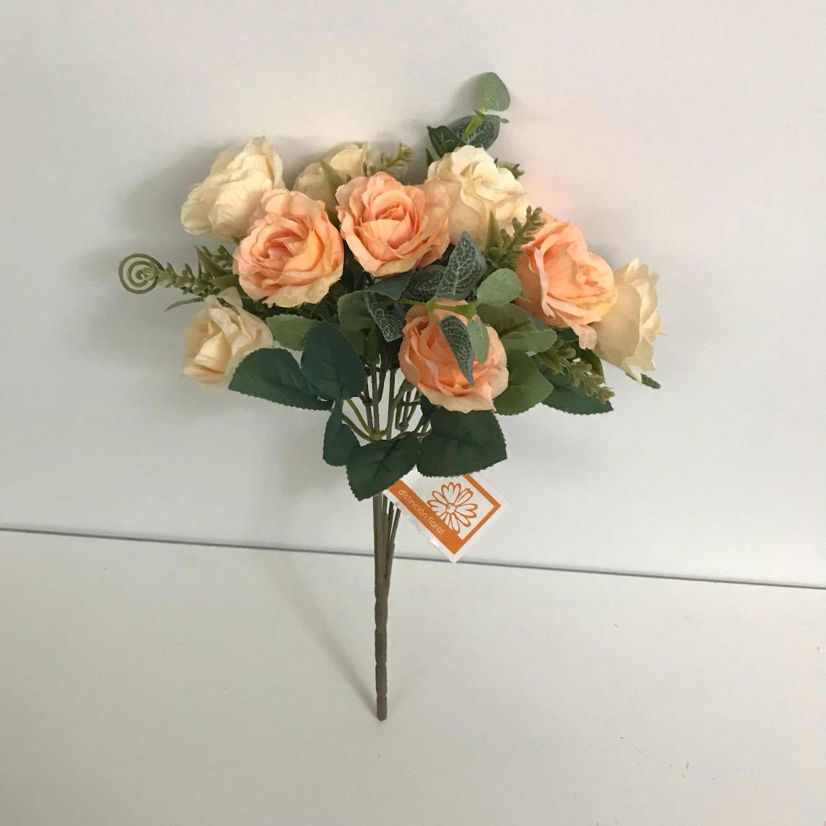 Ramo Bouquet De Rosas Naranja Salmón Con Beige Arreglo Flor
