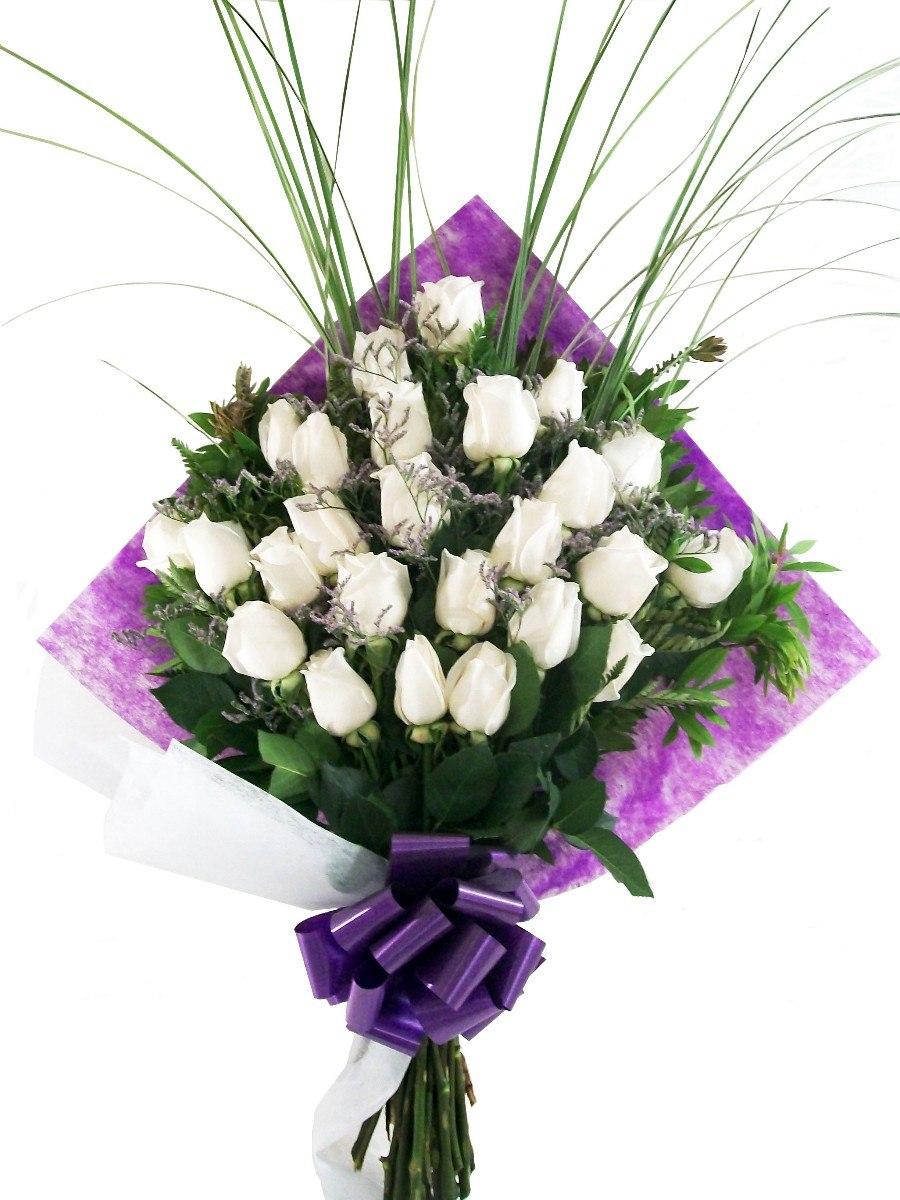 Ramo Flores Naturales 24 Rosas Blancas C Envio 115000 En - Imagenes-de-ramos-de-rosas-blancas