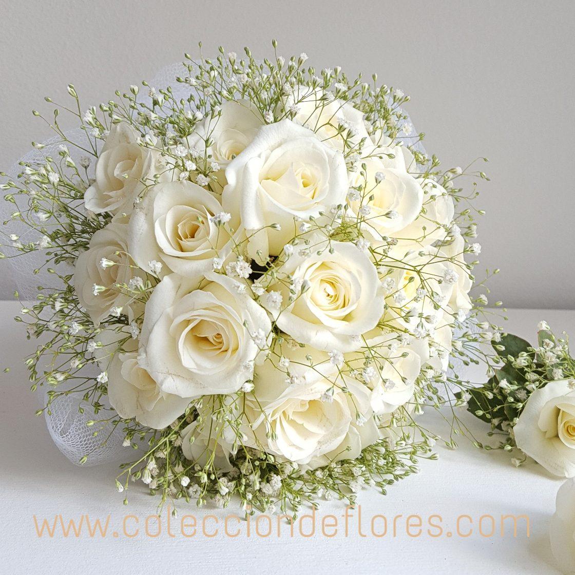Ramo Novia Rosas Blancas Naturales Envio A Domicilio 143500 - Imagenes-de-ramos-de-rosas-blancas
