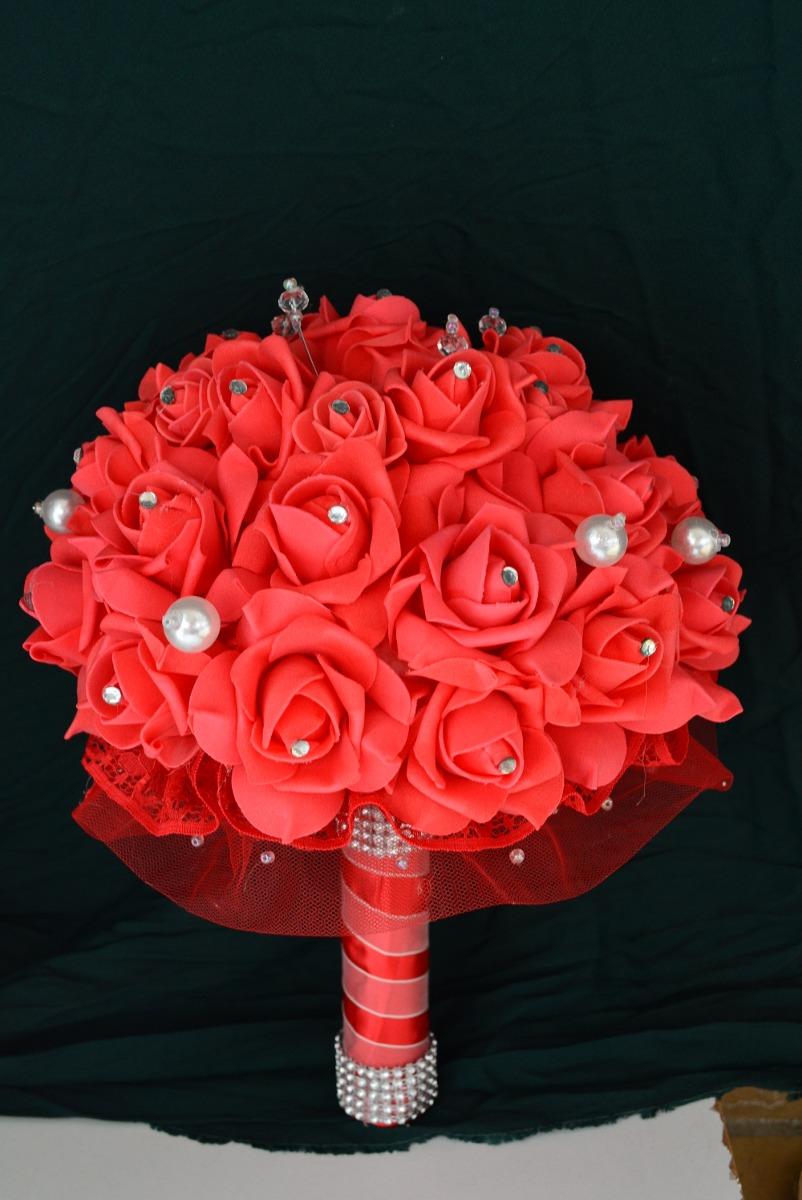 Ramo rojo artificial novia xv cristales grande diam 25cm - Moldes para piedras artificiales ...