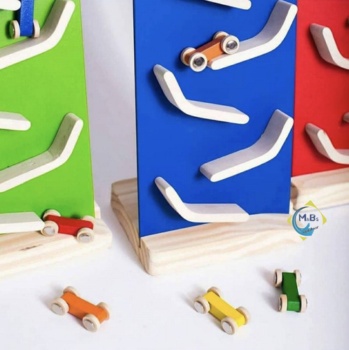 rampa bajada autitos madera didactico artesanal niño