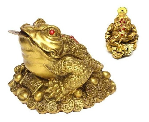 rana 3 patas resina dinero suerte fortuna 11x10 cm feng shui