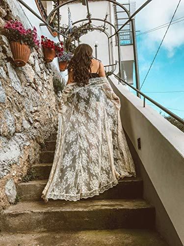ranrui  kimono para mujer, de playa, de encaje floral, largo