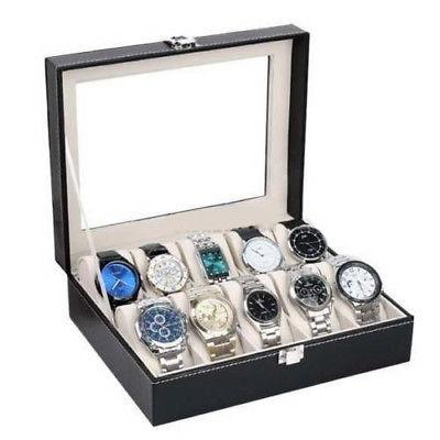 ranura 10 reloj caja 6 cuero pantalla organizador de casos