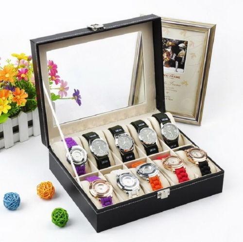 ranura 10 reloj caja cuero pantalla organizador de casos