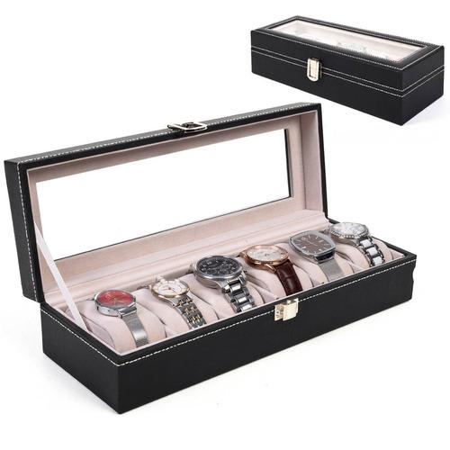 ranura 6 cuero reloj pantalla organizador de casos vidrio