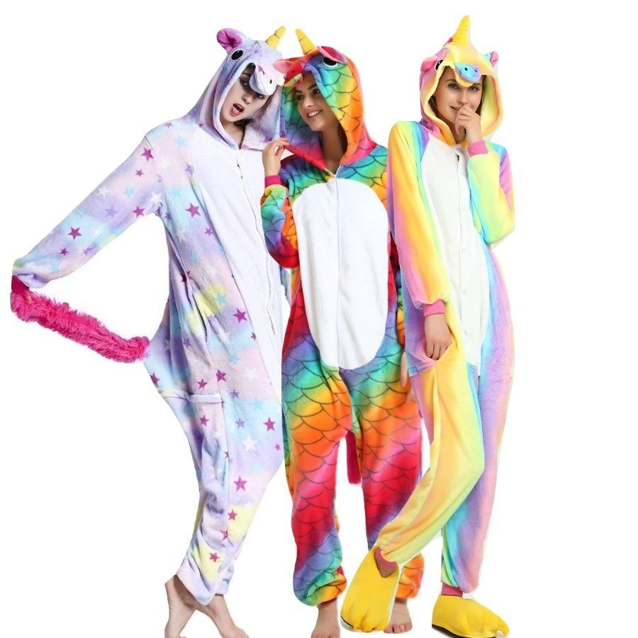 39db2291ace Rápido! Pijama Kigurumi Unicornio Sereia Arco Iris Estrela - R$ 159 ...