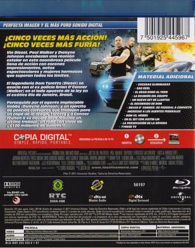 rapidos y furiosos 5 sin control pelicula blu-ray + dvd