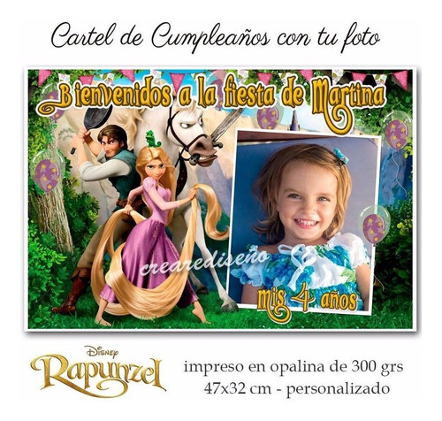 rapunzel  enredados divino cartel de cumpleaños foto  nombre
