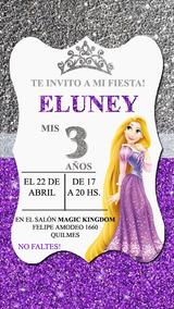 Rapunzel Glitter Invitación Tarjeta Digital Imprimible