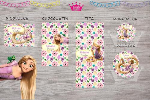 rapunzel golosinas personalizadas etiquetas candy bar x100