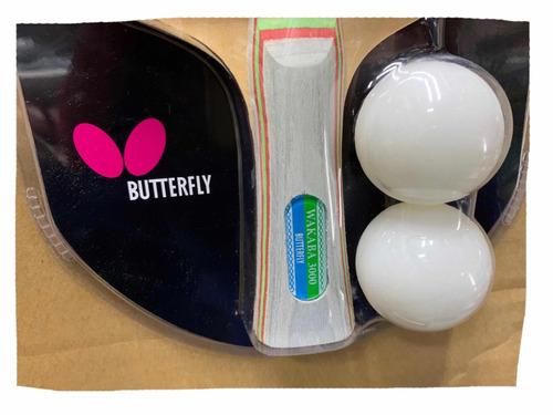 raqueta butterfly wakaba 3000 + 2 bolas. envío gratis