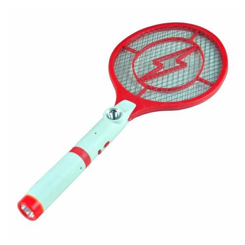 raqueta electrica mata moscas y mosquitos con linterna