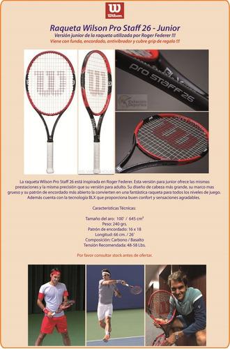 raqueta wilson junior pro staff 26 federer +regalos - olivos