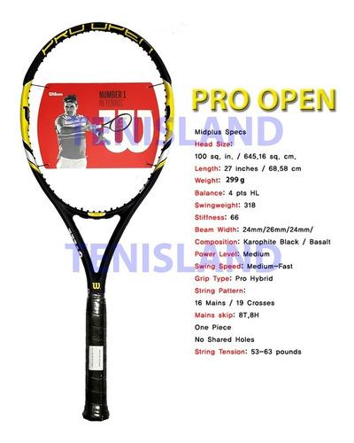 raqueta wilson pro open 100 alto rendimiento