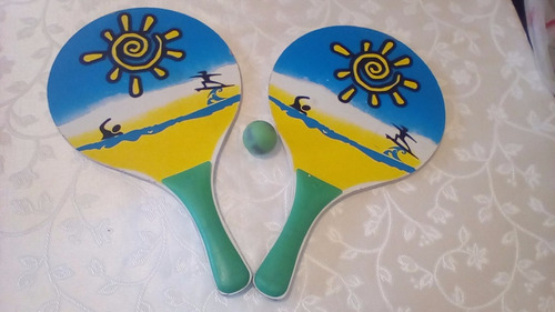 raquetas de playas madera