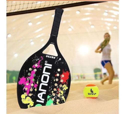 raquete beach tennis ianoni pr750 em fibra de carbono