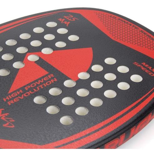 raquete de beach tennis titan max speed 25mm preta e verm