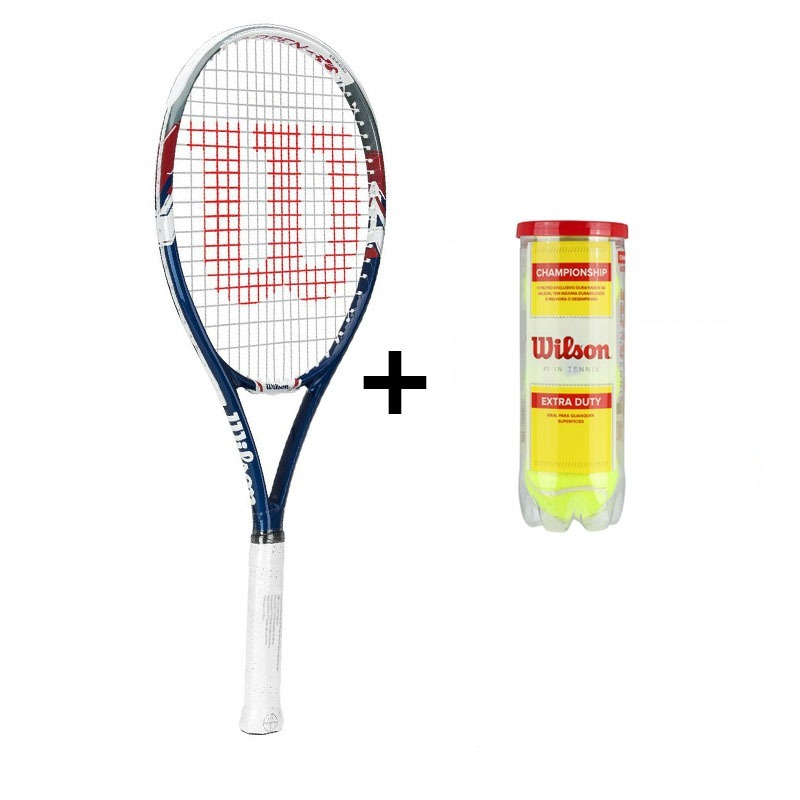 e9a4eec03 raquete de tenis wilson us open l3 + tubo de bola. Carregando zoom.