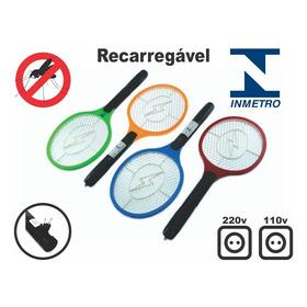 Raquete Elétrica Mata Mosquito Recarregável Bivolt - Inmetro